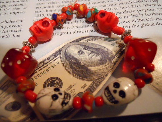 The Real Dia de los Muertos beaded stretch Day of the Dead stretch bracelet with skulls and dice