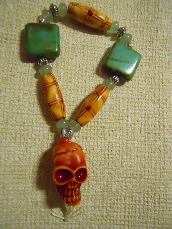 The Real Dia de los Muertos Buddha's Blessing 2 beaded bracelet with aventurine, bamboo & turquoise glass