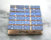 Printed mini clothespins, 50, cameo design in dark blue.  Perfect wedding display for photos, seating cards, guest book alternative.