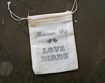 Wedding favor bags, set of 50 drawstring cotton bags. Shower the Love Birds design, perfect for bird seed toss favors.