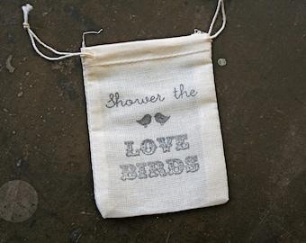Wedding mini favor bags, muslin, 2.5x4. Set of 50. Shower the Love Birds design, perfect for bird seed toss favors.