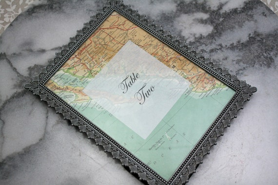 Map table numbers.  Custom table numbers from vintage atlas pages.  5x7 to fit into standard picture frame.