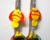 Glass Fish Long Dangle Earrings