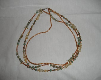 Turquoise and Amber Triple Strand Necklace