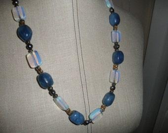 Vintage Blue Quartz & Moonstone Necklace