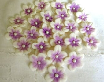 PURPLE and WHITE Gum Paste BLOSSOMS 30  Cake Topper / Cupcake Decorations