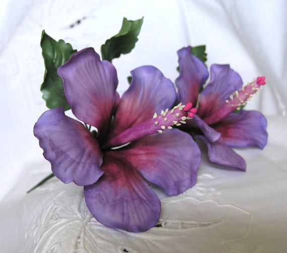 PURPLE MAGIC HIBISCUS Gum Paste Flowers / Air Brushed / Edible Cake Topper and Cupcake Decorations
