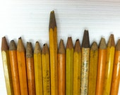 Mini antique pencils, vintage office mustard yellow coloured wooden miniature pencils, supplies, collectibles, arts, and crafts