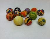 Vintage rubber balls, kids birthday party favors, ball boy toys, junk art craft jewlery making supplies