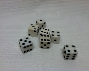 Dice black and white cube, vintage junk art gaming dice pieces, jewlery craft making supplies