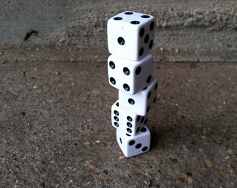 5 Brand NewDice black and white cube,  junk art gaming dice pieces, jewlery arts and crafts making supplies or mixed media assemblage