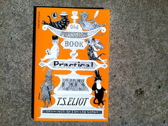 Old Possums Book of Practical Cats illustration black and white. poem paperback book by t.s. eliot