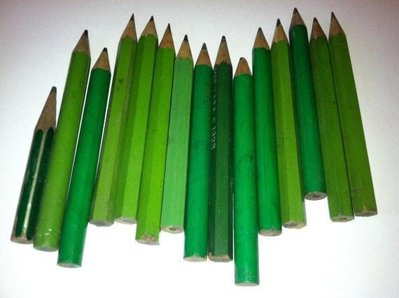 Vintage wood mini pencils  green, retro cute small vintage wooden pencil, grass green