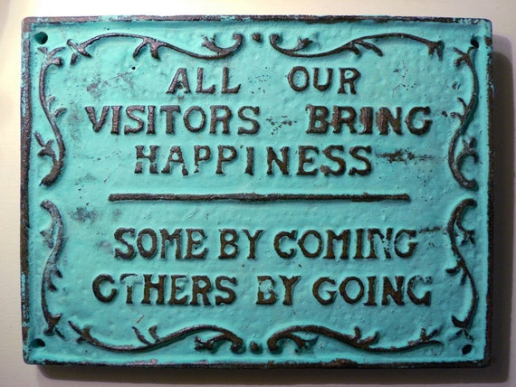Coming & Going Cast Iron Sign