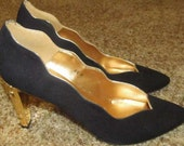 Black and Gold Heels Size 8 1/2