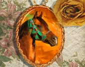 Arabian Horse Jewelry Pendant Necklace Handcrafted Ceramic