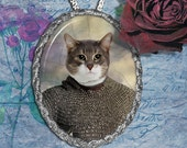 Tuxedo Cat Jewelry Pendant Necklace - Brooch Handcrafted Ceramic