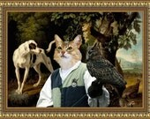 Somali Abyssinian Cat Fine Art Canvas Print - Landscape with a Falconer,Dog and Partridges