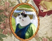 Cat Turkish Van Jewelry Pendant Necklace - Brooch Handcrafted Ceramic
