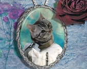 Tabby Cat American Shorthair Jewelry Pendant - Brooch Handcrafted Ceramic
