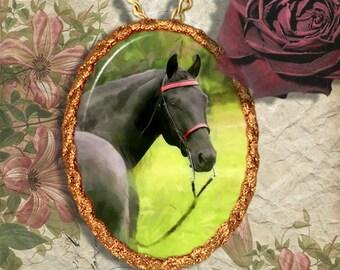 Black Horse Morgan Horse Jewelry Pendant - Brooch Handcrafted Ceramic