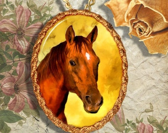 Chestnut Horse Jewelry Pendant - Brooch Handcrafted Ceramic