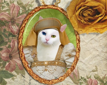 White Cat Jewelry Pendant Necklace - Brooch Handcrafted Ceramic