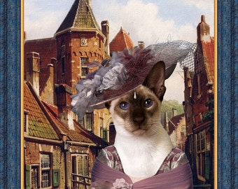 Siamese Cat Fine Art Canvas Print - Town Scene with Figures