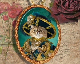 Persian Cat Jewelry Pendant Necklace - Brooch Handcrafted Ceramic