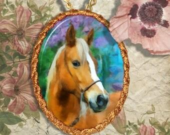 Connemara Pony Palomino Horse Jewelry Pendant Necklace Handcrafted Ceramic