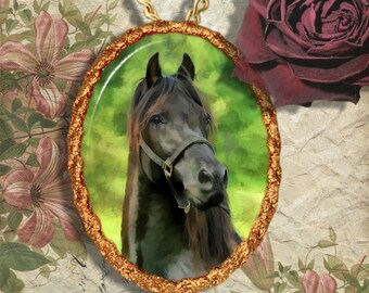 Black Horse Western Horse Jewelry Pendant - Brooch Handcrafted Ceramic