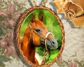 Chestnut Horse Western Quarter Horse Jewelry Pendant - Brooch Handcrafted Ceramic