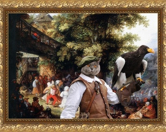 Blue Cat British Shorthair Fine Art Canvas Print - Village Dance with Falconer
