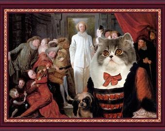 Persian Cat Fine Art Canvas Print -  The Italian Comedians