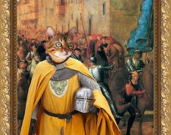 Tabby Bengal Cat Fine Art Canvas Print - Entrée de Charles VIII dans Florence