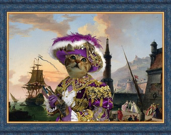 Tabby Cat American Shorthair Fine Art Canvas Print -  A Seaport and Pirate