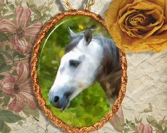 Gray Horse Jewelry Pendant - Brooch Handcrafted Ceramic