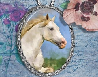 Connemara Pony White Horse Jewelry Pendant Necklace Handcrafted Ceramic