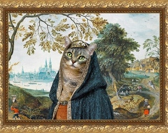 Tabby Cat American Shorthair Fine Art Canvas Print - The Landscape with Castle and Noble Lady