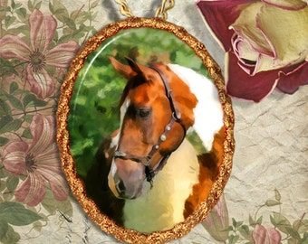 Paint Horse Pinto Horse Jewelry Pendant Necklace Handcrafted Ceramic