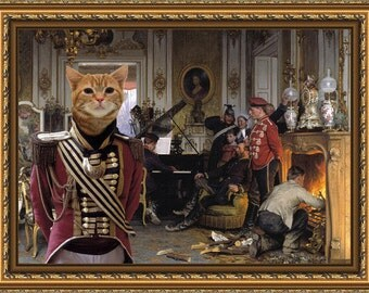 Tabby Cat American Shorthair Fine Art Canvas Print - The Soldiers afternoon