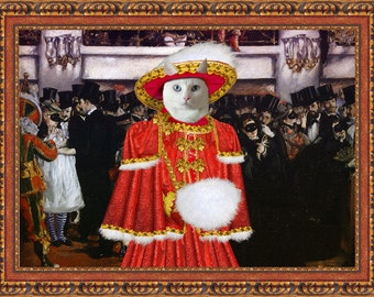 White Cat Fine Art Canvas Print