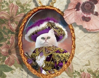 White Persian Cat Jewelry Pendant Necklace - Brooch Handcrafted Ceramic