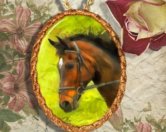 Thoroughbred Horse Jewelry Pendant Necklace Handcrafted Ceramic