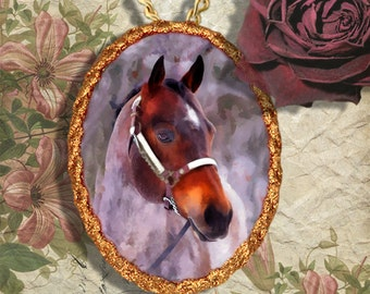 Roan Horse Western Quarter Horse Jewelry Pendant - Brooch Handcrafted Ceramic