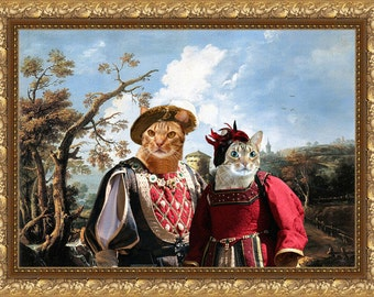 Tabby Cat Ocicat Fine Art Canvas Print - The Landscape with Tudor Lady and Duke