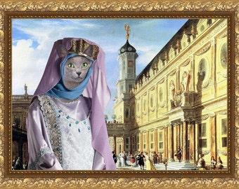 Cat Russian Blue Fine Art Canvas Print - Renaissance Palace and Middle Age Lady