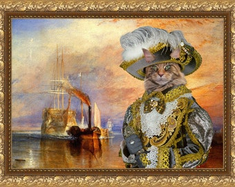 Cat Maine Coon Fine Art Canvas Print - The fighting Temeraire