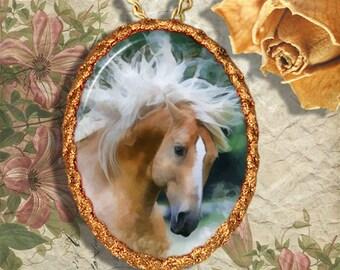 Palomino Horse Quarter Horse Jewelry Pendant - Brooch Handcrafted Ceramic
