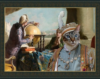 Siamese Cat or Oriental Shorthair Fine Art Canvas Print - The Geography Lesson